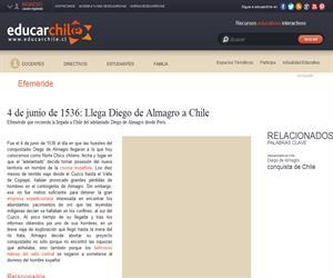 Efeméride llegada Diego de Almagro (Educarchile)