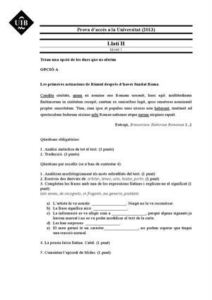 Examen de Selectividad: Latín. Islas Baleares. Convocatoria Junio 2013