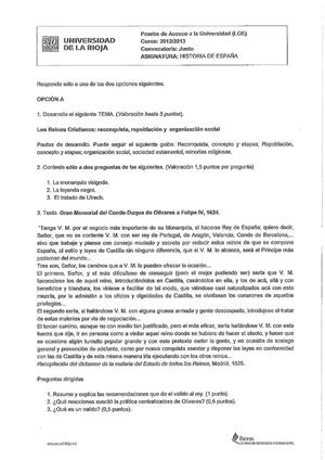 Examen de Selectividad: Historia de España. La Rioja. Convocatoria Junio 2013