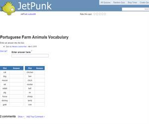 Portuguese Farm Animals Vocabulary