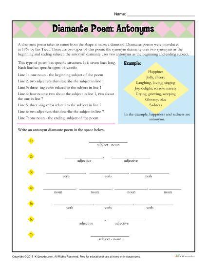 Diamante Poem: Antonyms