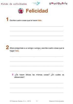 Ficha de actividades sobre la felicidad. Emocionario