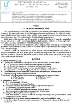 Examen de Selectividad: Francés 2. Andalucía. Convocatoria Junio 2012
