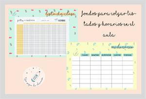 Carteles y fondos para listados de clase y horarios