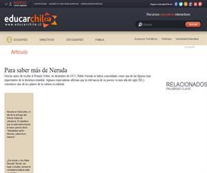 Neruda en la web (Educarchile)
