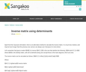 Inverse matrix using determinants