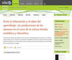 Entre la información y el sabor del aprendizaje : las producciones de los alumnos en el cruce de la cultura letrada, mediática y cibernética
