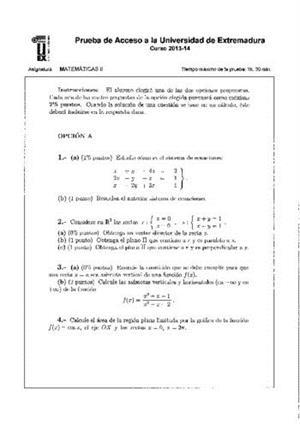 Examen de Selectividad: Matemáticas II. Extremadura. Convocatoria Junio 2014