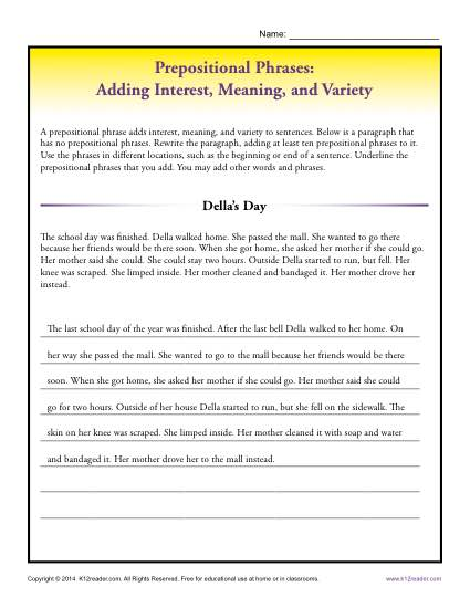 Prepositional Phrases: Adding Interest, Meaning, and Variety
