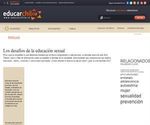 Los desafíos de la educación sexual (Educarchile)