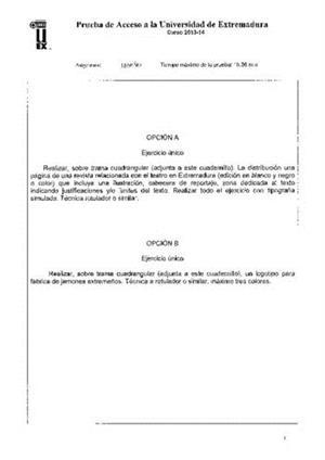 Examen de Selectividad: Diseño. Extremadura. Convocatoria Junio 2014