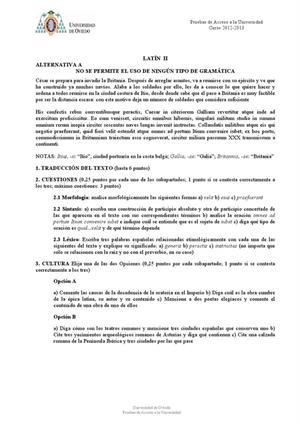 Examen de Selectividad: Latín. Asturias. Convocatoria Julio 2013