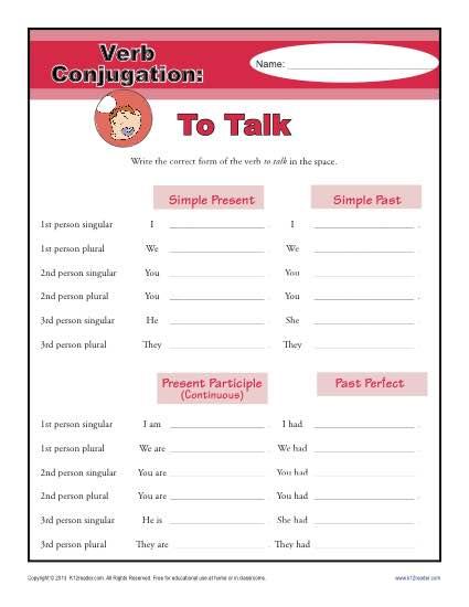 Verb Conjugations: To Talk