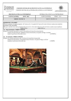 Examen de Selectividad: Dibujo técnico. Comunidad Valenciana. Convocatoria Junio 2013