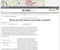 Ahora, por fin, hemos comenzado a mejorar · Ramón Flecha en el diario EL PAÍS