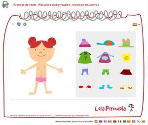 Prendas de vestir. Juego on-line para Educación Infantil