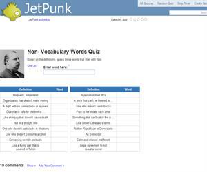 Non- Vocabulary Words Quiz