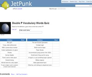 Double P Vocabulary Words Quiz