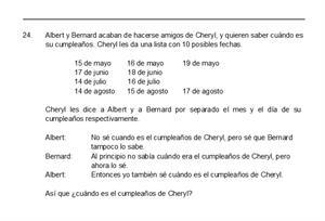 Resolución detallada del famoso problema del cumpleaños de Cheryl. Un problema de lógica muy interesante.