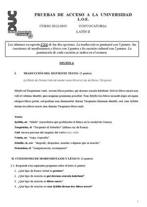 Examen de Selectividad: Latín. Canarias. Convocatoria Julio 2013
