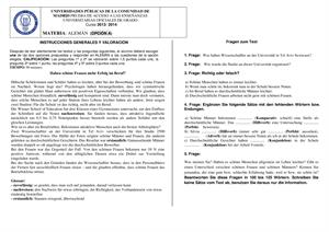 Examen de Selectividad: Alemán. Madrid. Convocatoria Junio 2014