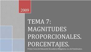 Magnitudes proporcionales. Porcentajes