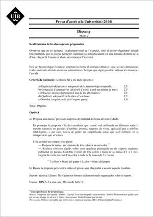 Examen de Selectividad: Diseño. Islas Baleares. Convocatoria Junio 2014