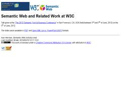 Semantic Web and Related Work at W3C