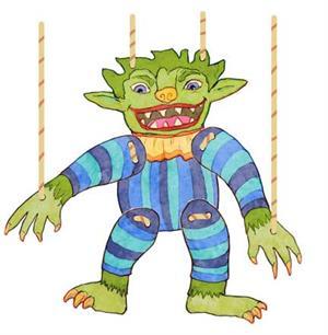Giggle Monster. Una marioneta de papel