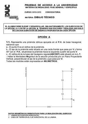 Examen de Selectividad: Dibujo técnico. Canarias. Convocatoria Julio 2013