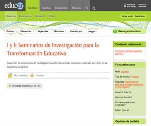 I y II Seminarios de Investigación para la Transformación Educativa