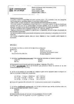 Examen de Selectividad: Química. La Rioja. Convocatoria Junio 2014