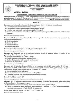 Examen de Selectividad: Química. Madrid. Convocatoria Septiembre 2013