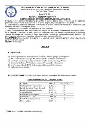 Examen de Selectividad: Historia de España. Madrid. Convocatoria Junio 2014