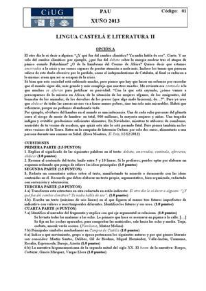 Examen de Selectividad: Lengua castellana y su Literatura. Galicia. Convocatoria Junio 2013