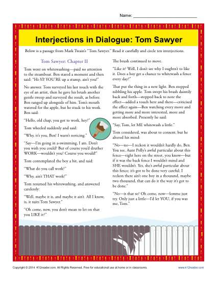Interjections in Dialogue: Tom Sawyer