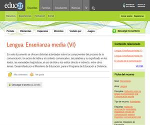 Lengua. Enseñanza media (VI)