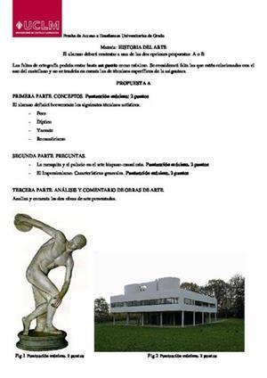 Examen de Selectividad: Historia del arte. Castilla-La Mancha. Convocatoria Junio 2014