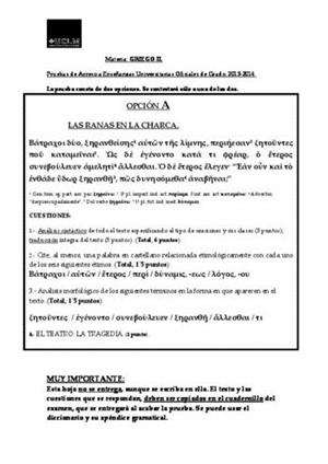 Examen de Selectividad: Griego. Castilla-La Mancha. Convocatoria Junio 2014