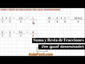 Suma y resta de fracciones con igual denominador