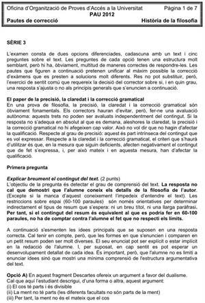 Examen de Selectividad (Soluciones): Historia de la Filosofía. Cataluña. Convocatoria Junio 2012