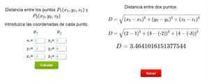 Calculadora para calcular la distancia entre dos puntos