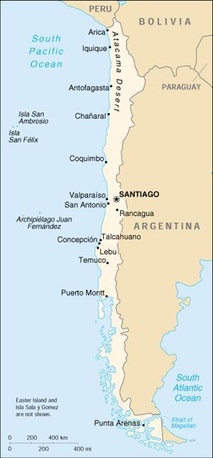 Mapa de político de Chile(lib.utexas.edu)