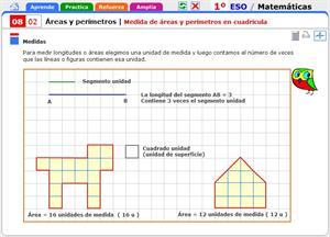 Medida de áreas y perímetros en cuadrícula. Matemáticas para 1º de Secundaria