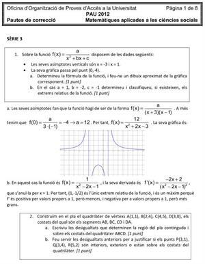 Examen de Selectividad (Soluciones): Matemáticas aplicadas. Cataluña. Convocatoria Junio 2012