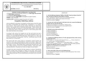 Examen de Selectividad: Inglés. Madrid. Convocatoria Septiembre 2013