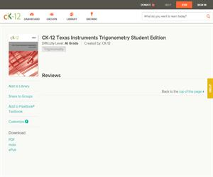 CK-12 Texas Instruments Trigonometry Student Editio? At grade