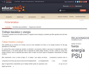 Trabajo mecánico y energía (Educarchile)