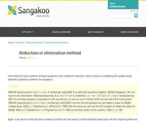 Systems of linear equations: Reduction or elimination method