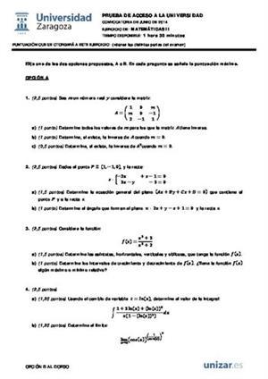 Examen de Selectividad: Matemáticas II. Aragón. Convocatoria Junio 2014